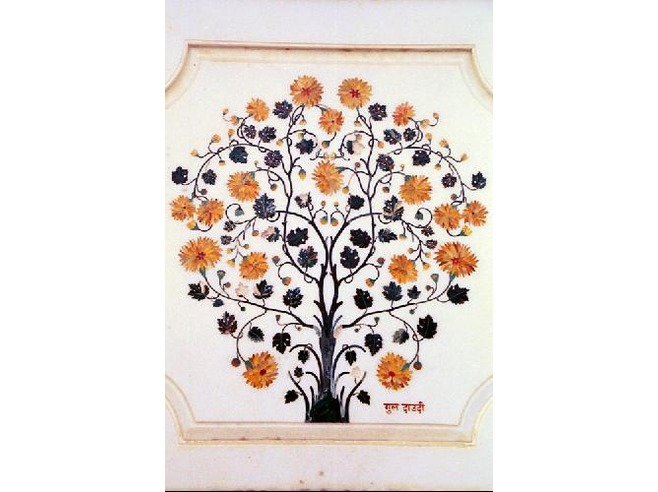 Antiques Marble Inlay Pietra Dura Rose Flower Plaque Wall Decorative Collectible Antique Delaying Senility
